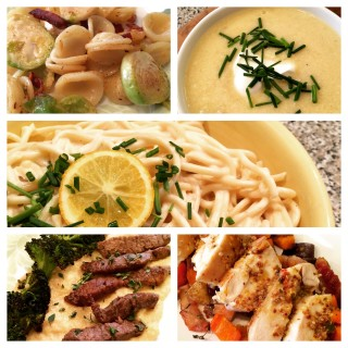 Menu Plan: 5 Nights of Recipes From Cooking Light Magazine-Mustard-Glazed Chicken with Roasted Vegetables, Pasta with Bacon, Shredded Brussels Sprouts, and Lemon Zest, White Cheddar and Chive Potato Soup, Bucatini with Meyer Lemon Cream and Chives and Seared Flank Steak with Blue Cheese Polenta.