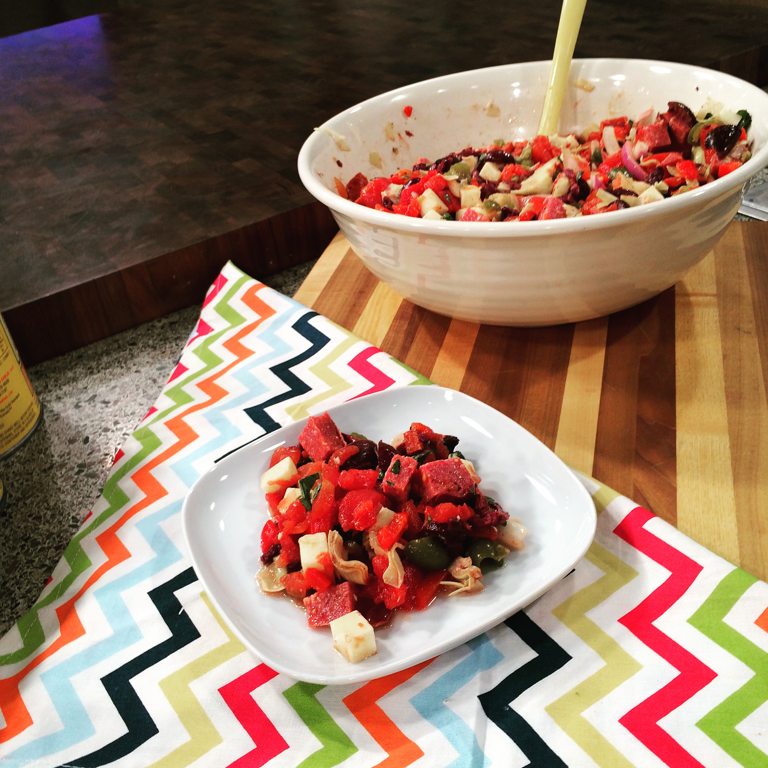 Red Gold Tomatoes Recipes: Antipasto Salad and Spicy Chicken Wraps as Seen on IndyStyle