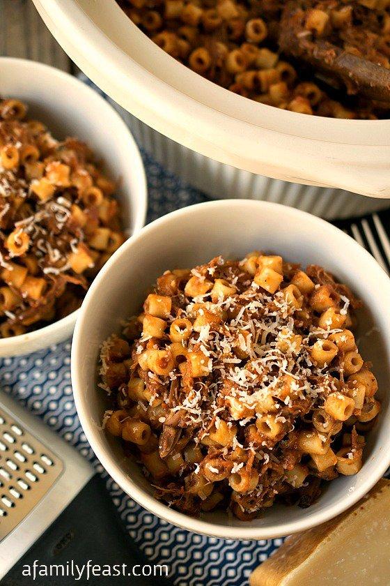 Summer Slow Cooker Recipes - Beefy Mac Recipe from AFamilyFeast.com