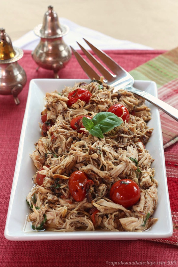 Slow Cooker Tomato Basil Pulled Chicken from Cupcakes & Kale Chips