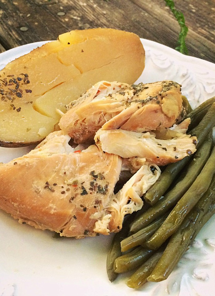 Summer Slow Cooker Recipes - Zesty Chicken with Potatoes and Green Beans