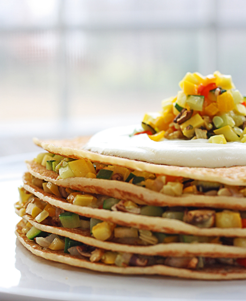Roasted Veggie Crepe Stacks from @thewickednoodle - One of the healthy summer squash recipes being featured on Basilmomma.com