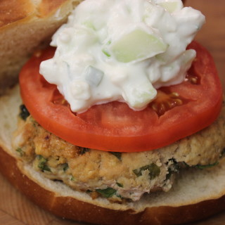 Turkey Burger Recipe with Spinach, Feta, Hummus and Creamy Cucumber Topping