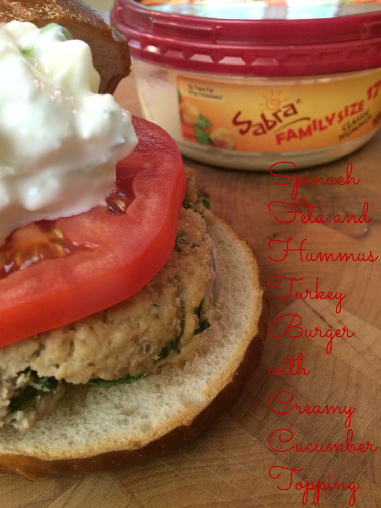 Turkey Burger Recipe with Spinach, Feta, Hummus and Creamy Cucumber ...