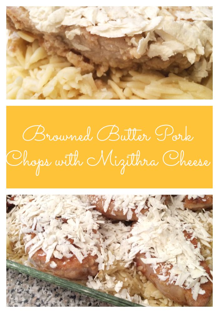 Browned Butter Pork Chops with Mizithra Cheese