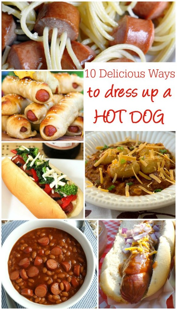 10 Delicious Ways to Dress Up A Hot Dog - from chili dogs to frank and beans, there are 10 tasty hot dog recipes in this collection on basilmomma.com