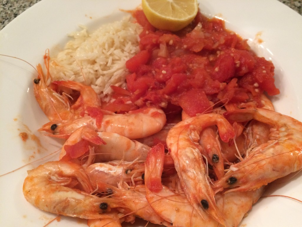 Easy seafood recipes -tomato and garlic shrimp saute