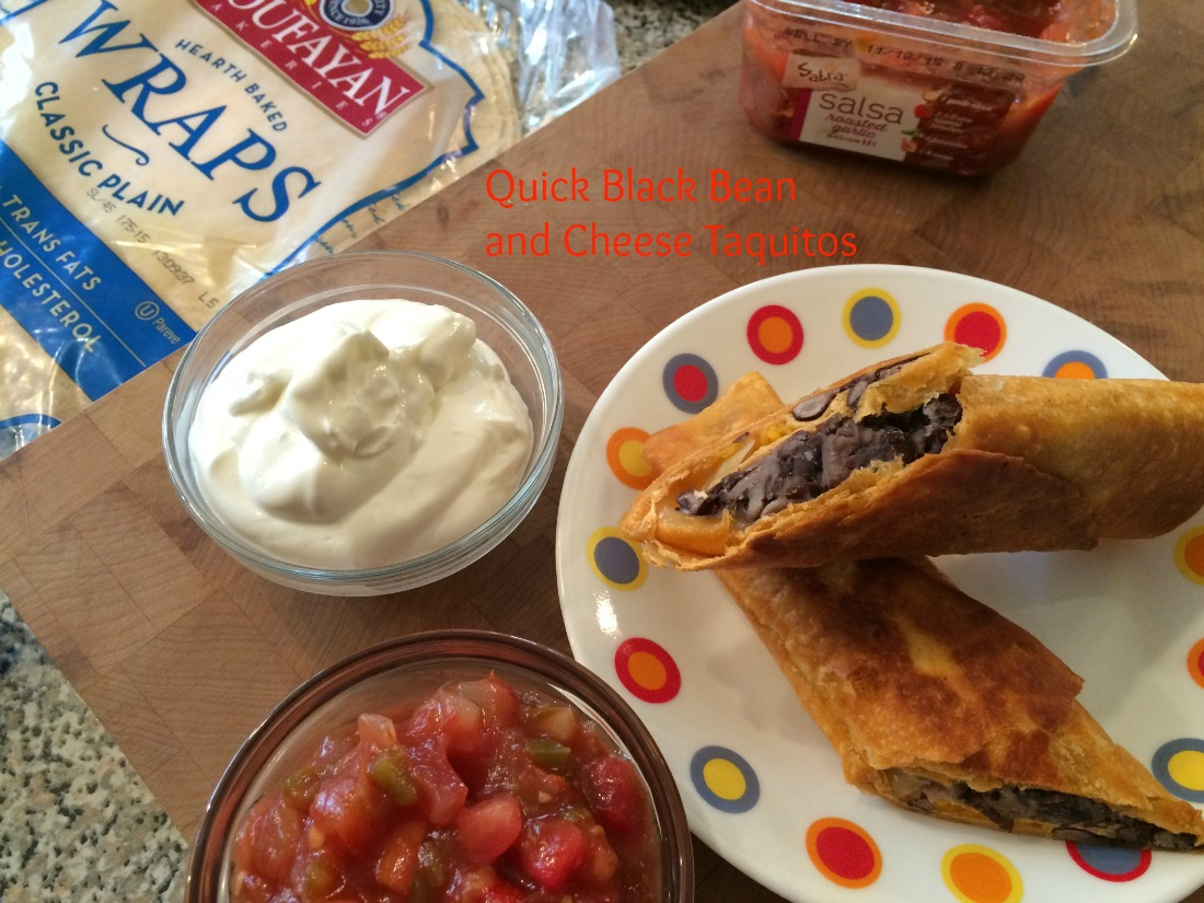 Quick Black Bean and Cheese Taquitos