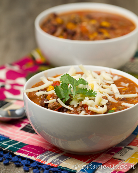 Crockpot Taco Chili from Ari's Menu - 1 of 20 of the best chili recipes in a collection on basilmomma.com