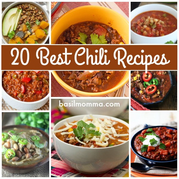 20 of the best chili recipes, spiced from mild to hot and wild! They're perfect for cool weather and game day food. Get the recipes in a collection on basilmomma.com