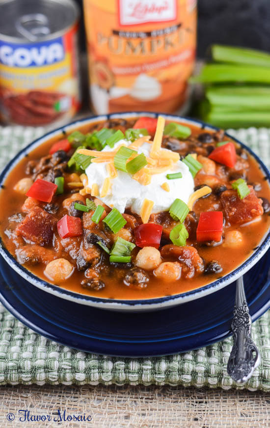 Vegetarian Pumpkin Chipotle Chili from Flavor Mosaic - 1 of 20 of the best chili recipes in a collection on basilmomma.com