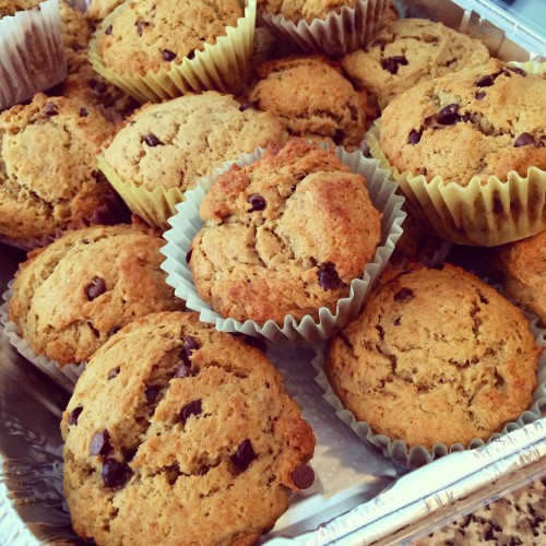 peanut butter banana chocolate chip muffins - a one bowl muffin recipe from basilmomma.com