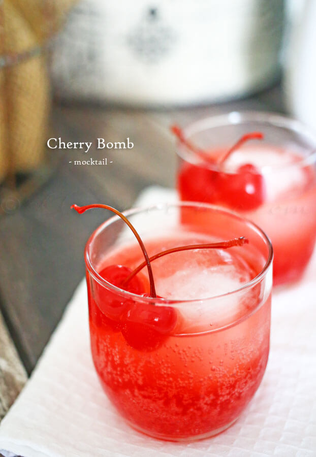 Cherry Bomb Mocktail - Recipe from Julie's Eats and Treats - This is a super easy New Year's Eve mocktail recipe