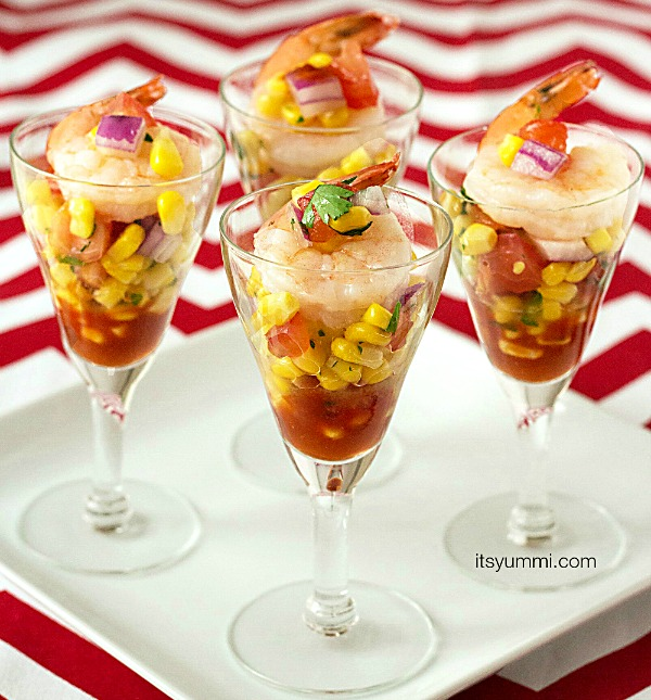 Shrimp Cocktail Corn Salsa Shooters from It's Yummi - one of my family's favorite easy New Year's Eve appetizers!