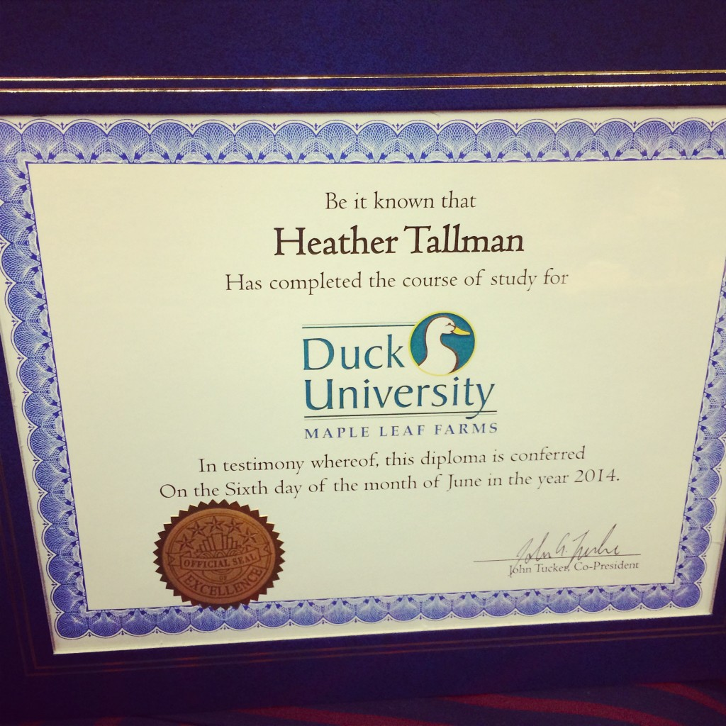 Maple Leaf Farms Duck University certificate