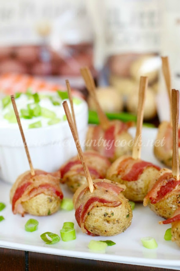 Bacon Wrapped Potatoes with Sour Cream and Onion Dip - A great appetizer recipe from The Country Cook
