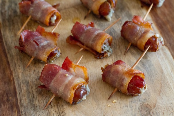 Bacon Wrapped Dates Stuffed with Blue Cheese - The perfect appetizer recipe for an Oscars party!