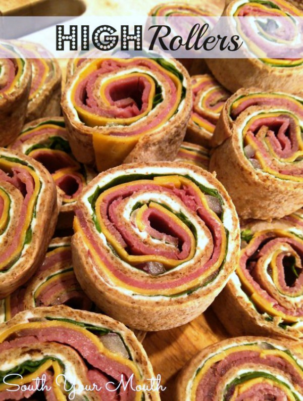 High Rollers - A great Oscars party appetizer - Flatbread rolled up with roast beef, cheeses, spinach, and horseradish.