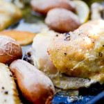 Chicken Vesuvio - This easy sheet pan dinner is made with chicken, garlic, lemon, and potatoes. The recipe was created by Carrie at Carrie's Experimental Kitchen as part of her guest post on basilmomma.com
