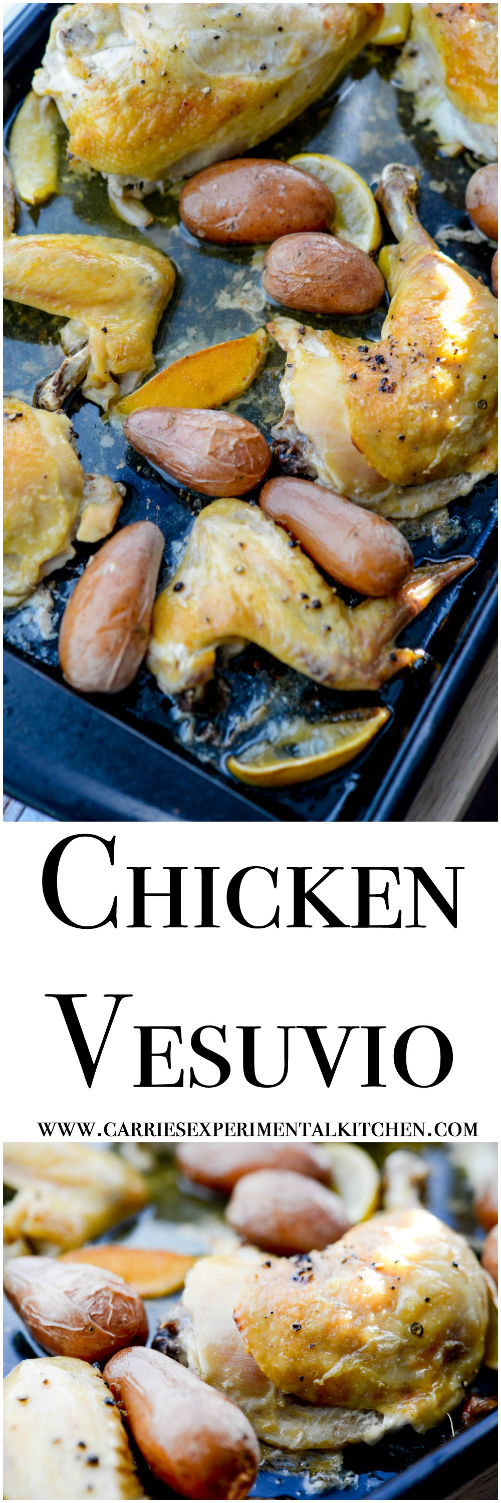 Chicken Vesuvio - This easy sheet pan dinner is made with chicken, garlic, lemon, and potatoes. The recipe was created by Ann at Sumptuous Spoonfuls as part of a guest post on basilmomma.com