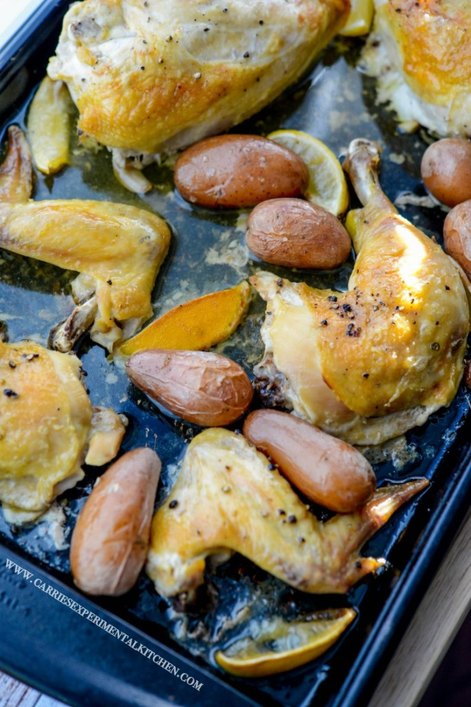 Chicken Vesuvio - This easy sheet pan dinner is made with chicken, garlic, lemon, and potatoes. The recipe was created by Carrie at Carrie's Experimental Kitchen as part of a guest post on basilmomma.com