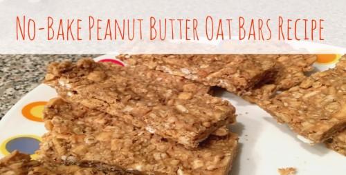 Healthy No Bake Peanut Butter Oat Bars Recipe from @Basilmomma