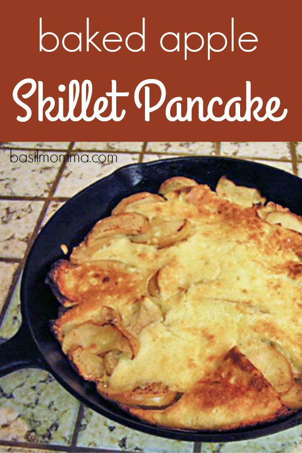 Baked Apple Skillet Pancake Recipe - Perfect for breakfast, brunch, or a light supper. Get the recipe on basilmomma.com