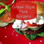 Greek Style Pork Burgers - Recipe from basilmomma.com
