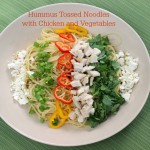 Hummus Tossed Noodles with Chicken and Vegetables - Get the recipe from basilmomma.com