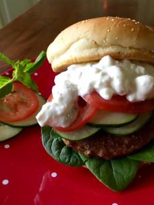 Greek Style Pork Burgers - Recipe from basilmomma.com