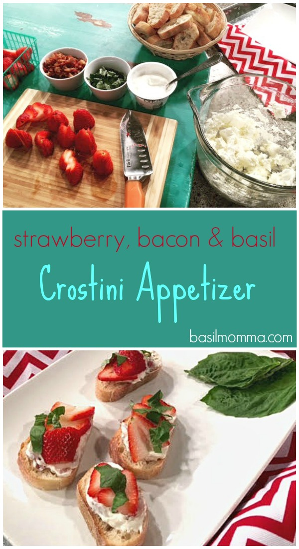 This strawberry crostini appetizer is topped with crispy bacon, fresh basil, cream cheese and strawberries. Perfect for a summer party! Get the recipe on basilmomma.com