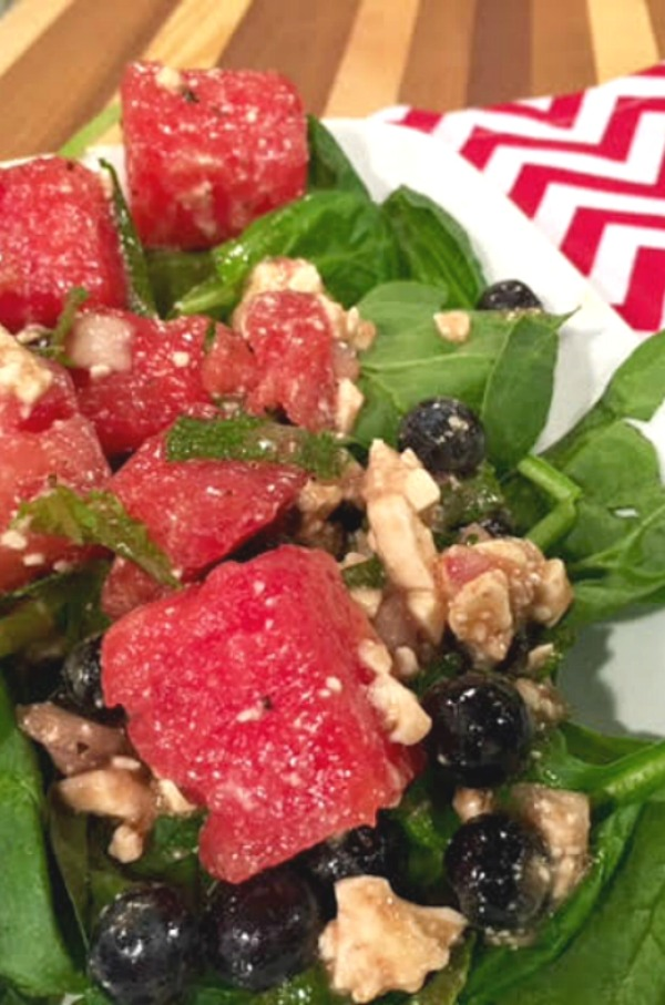 Watermelon Blueberry Feta Salad with Mint - This delicious and fresh fruit salad recipe is on basilmomma.com