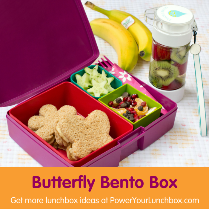 Butterfly Bento Box - Just one of the healthy kid-friendly lunchbox recipes you can find on basilmomma.com