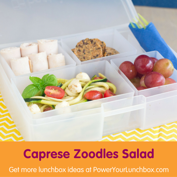 Caprese Zoodles Salad - Get this recipe, and other healthy, kid-friendly lunchbox recipes on basilmomma.com