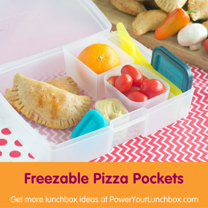 Freezable Pizza Pockets - One of the healthy kid-friendly lunchbox recipes you can get from @basilmomma