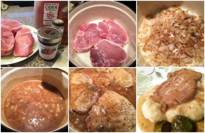 Step by step preparation of apple cider braised pork chops. Recipe on basilmomma.com