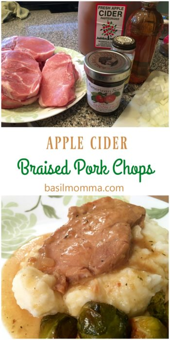 Apple Cider Braised Pork Chops - the perfect fall comfort food dinner! Recipe on basilmomma.com