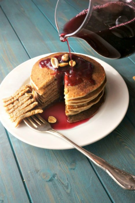 Peanut Butter and Jelly Pancakes, a quick recipe with peanut butter, from A Mind Full Mom