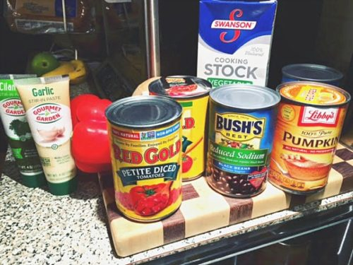 Ingredients needed to make slow cooker black bean pumpkin chili. Recipe on basilmomma.com