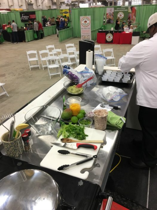 Food demo preparation at Indiana's Fantastic Food Fest 2017
