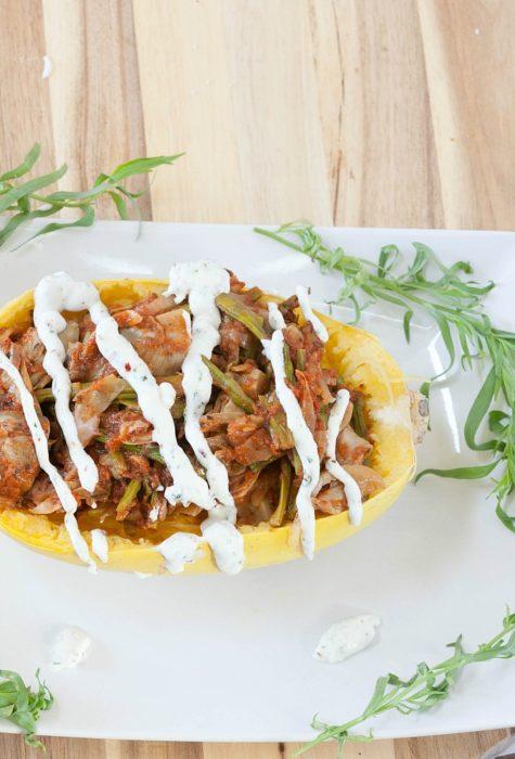 Spaghetti Squash Asparagus Primavera | Amee's Savory Dish