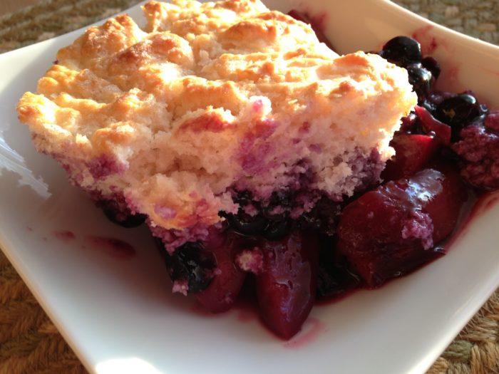 Blueberry-Nectarine Biscuit Top Cobbler | Basilmomma.com