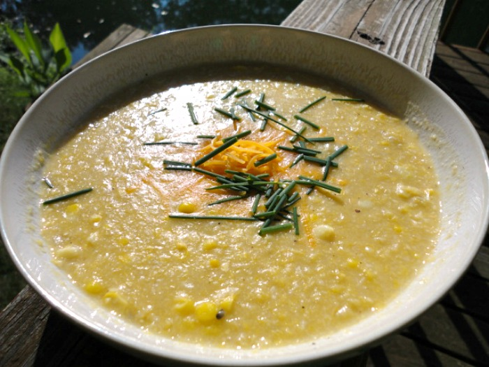 This healthier recipe for Indiana Sweet Corn Chowder is low fat and lower in calories by using pureed sweet corn and eliminating unnecessary heavy cream, butter, and flour. | basilmomma.com