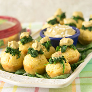 Spinach Artichoke Hummus Corn Muffins {Gluten Free}