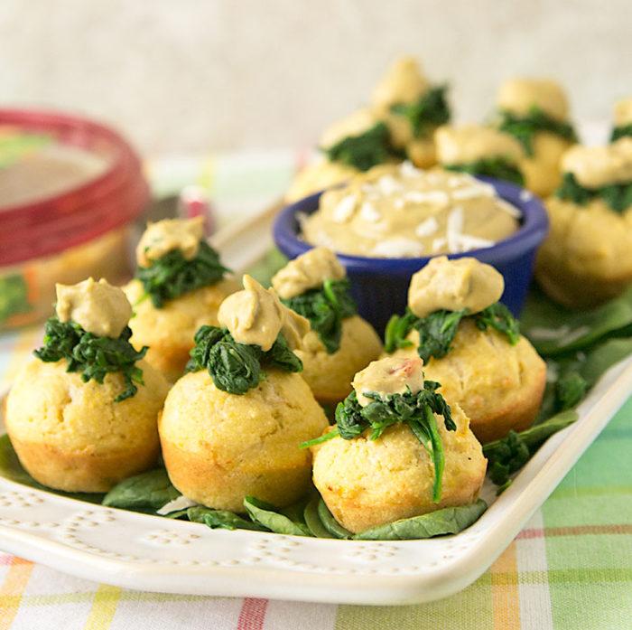 Spinach Artichoke Hummus Corn Muffins, featuring Sabra hummus.