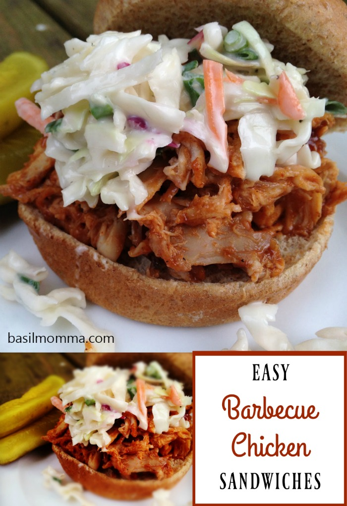 Easy Barbecue Chicken Sandwiches - this quick weeknight dinner recipe uses cooked rotisserie chicken, making it SO easy to make!