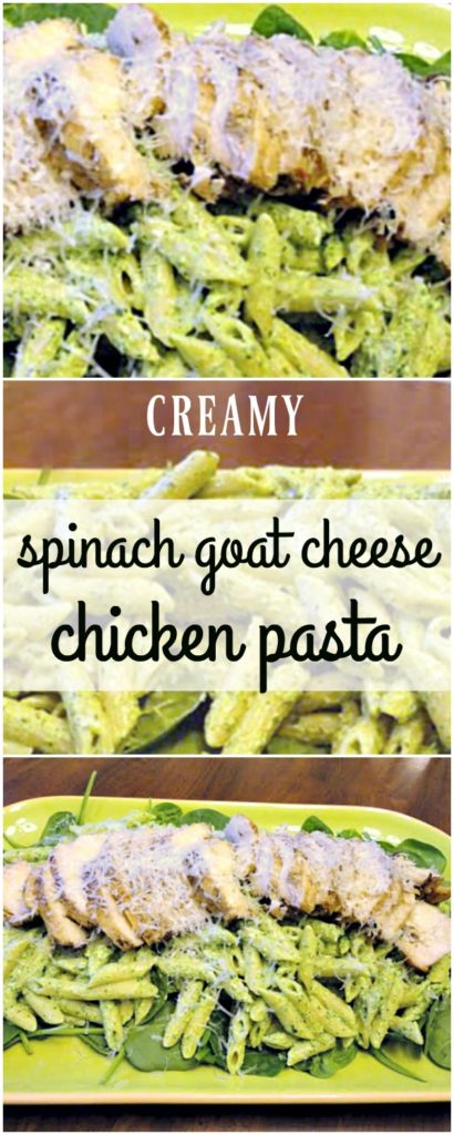 Spinach goat cheese pasta is an easy weeknight dinner recipe. Tender penne pasta is tossed with creamy homemade vegetarian pasta sauce, made from spinach and goat cheese. Served with grilled chicken or not, this comfort food dinner comes together in less than 30 minutes! | vegetarian | easy dinner