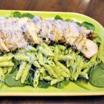 Creamy Spinach Goat Cheese Pasta - with grilled chicken