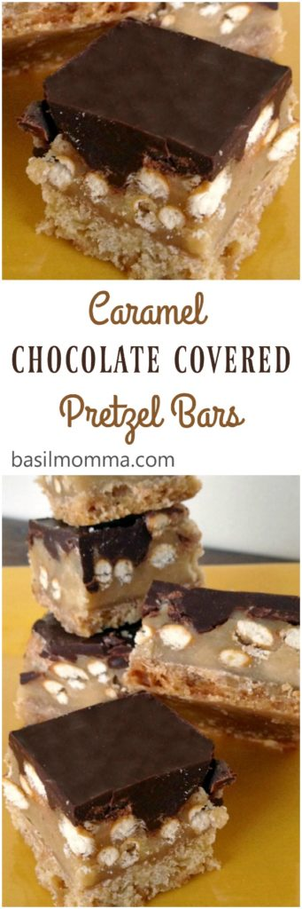 Caramel chocolate covered pretzel bars are a seriously addictive, sweet and salty dessert. They have a soft cookie base, creamy caramel, and crunchy pretzels covered with chocolate. Super easy to make, too!