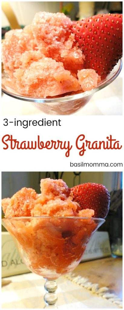Fresh strawberry granita is a frozen dessert made with just 3 ingredients; fresh strawberries, sugar, and lemon juice. It's one of my favorite summer frozen dessert recipes, and healthier, because you can control the amount of sugar in it!